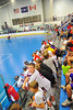 "Young Onondaga Redhawks fans cheer them on against the Newtown Golden Eagles in the Can-Am Senior ""B"" Box Lacrosse finals at the Onondaga Nation Arena near Nedrow, New York."