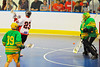 "Onondaga Redhawks Dwayne Porter (23) goes behind his back to score against the Newtown Golden Eagles in the Can-Am Senior ""B"" Box Lacrosse finals at the Onondaga Nation Arena near Nedrow, New York."