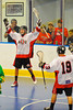 "Onondaga Redhawks Dwayne Porter (23) celebrating his goal against the Newtown Golden Eagles in the Can-Am Senior ""B"" Box Lacrosse finals at the Onondaga Nation Arena near Nedrow, New York."