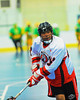 "Onondaga Redhawks Neal Powless (16) during pre-game warmups before playing the Newtown Golden Eagles in the finals of the Can-Am Senior ""B"" Lacrosse league at the Onondaga Nation Arena near Nedrow, New York."