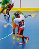 "Onondaga Redhawks Dwayne Porter (23) shoots and scores the first goal against the Newtown Golden Eagles in the finals of the Can-Am Senior ""B"" Lacrosse league at the Onondaga Nation Arena near Nedrow, New York."
