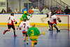 "Newtown Golden Eagles Donald Stevens (7) tries to score on the Onondaga Redhawks in the Can-Am Senior ""B"" Box Lacrosse finals at the Onondaga Nation Arena near Nedrow, New York."