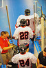 "Onondaga Redhawks James Cathers (22) and David Stout (24) before the playoff games against the Newtown Golden Eagles in the Can-Am Senior ""B"" Box Lacrosse finals at the Onondaga Nation Arena near Nedrow, New York."