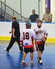 "Onondaga Redhawks Neal Powless (16) congratulates James Cathers (22) on a goal against the Niagara Hawks in Can-Am Senior ""B"" playoff game at the Onondaga Nation Arena near Nedrow, New York on Saturday, July 20, 2011. Onondaga won 12-2."