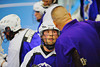 """Niagara Hawks coach talking with one of his players during the Can-Am Senior """"B"""" playoff game against the Onondaga Redhawks at the Onondaga Nation Arena near Nedrow, New York on Saturday, July 20, 2011. Onondaga won 12-2."""