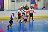 "Onondaga Redhawks players clear the ball against the Niagara Hawks in Can-Am Senior ""B"" playoff game at the Onondaga Nation Arena near Nedrow, New York on Saturday, July 20, 2011. Onondaga won 12-2."