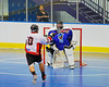 "Onondaga Redhawks Pete Benedict (10) closing in on the Niagara Hawks goal in Can-Am Senior ""B"" playoff game at the Onondaga Nation Arena near Nedrow, New York on Saturday, July 20, 2011. Onondaga won 12-2."