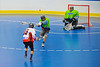 """Onondaga Redhawks Dustin Hill (20) fires a shot on goal against the Rochester Greywolves in Can-Am Senior """"B"""" Box Lacrosse at the Onondaga Nation Arena near Nedrow, New York on Saturday, April 28, 2012."""