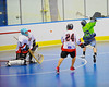 """Onondaga Redhawks goalie Spencer Lyons (1) in position to make a save against the Rochester Greywolves in Can-Am Senior """"B"""" Box Lacrosse at the Onondaga Nation Arena near Nedrow, New York on Saturday, April 28, 2012."""