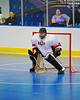 "Onondaga Redhawks goalie Ross Bucktooth (30) in a game against the Rochester Greywolves in Can-Am Senior ""B"" Box Lacrosse at the Onondaga Nation Arena near Nedrow, New York on Saturday, April 28, 2012."