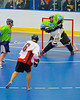 """Onondaga Redhawks Neal Pwoless (16) shot is stopped by the Rochester Greywolves goalie in Can-Am Senior """"B"""" Box Lacrosse at the Onondaga Nation Arena near Nedrow, New York on Saturday, April 28, 2012."""