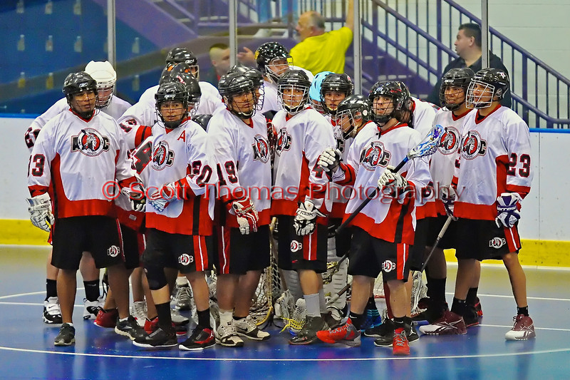 """The 2012 edition of the Onondaga Redhawks breaks the pre-game huddle before playing the Rochester Greywolves in the first game of the Can-Am Senior """"B"""" Box Lacrosse season at the Onondaga Nation Arena near Nedrow, New York on Saturday, April 28, 2012. Redhawks went on to win 19-4."""