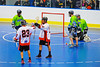 """Onondaga Redhawks A.J. Bucktooth (18) celebrates this goal with Dwayne Porter (23) against  the Rochester Greywolves in Can-Am Senior """"B"""" Box Lacrosse at the Onondaga Nation Arena near Nedrow, New York on Saturday, April 28, 2012."""