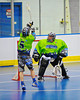 "Rochester Greywolves players defending their net against the Onondaga Redhawks in Can-Am Senior ""B"" Box Lacrosse at the Onondaga Nation Arena near Nedrow, New York on Saturday, April 28, 2012."