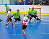 """Onondaga Redhawks Neal Pwoless (16) takes a shot at the Rochester Greywolves goal in Can-Am Senior """"B"""" Box Lacrosse at the Onondaga Nation Arena near Nedrow, New York on Saturday, April 28, 2012."""