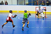 """Rochester Greywolves player lining up a shot against the Onondaga Redhawks goalie Spencer Lyons (1) in Can-Am Senior """"B"""" Box Lacrosse at the Onondaga Nation Arena near Nedrow, New York on Saturday, April 28, 2012."""