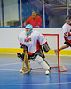 """Onondaga Redhawks goaltender Spencer Lyons (1) in a game against the Rochester Greywolves in Can-Am Senior """"B"""" Box Lacrosse at the Onondaga Nation Arena near Nedrow, New York on Saturday, April 28, 2012."""