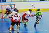 "Onondaga Redhawks defenders try to stop a Rochester Greywolves player in Can-Am Senior ""B"" Box Lacrosse at the Onondaga Nation Arena near Nedrow, New York on Saturday, April 28, 2012."
