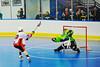 "Onondaga Redhawks James Cathers (22) deking the Rochester Greywolves goalie in Can-Am Senior ""B"" Box Lacrosse at the Onondaga Nation Arena near Nedrow, New York on Saturday, April 28, 2012."