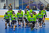 "Rochester Greywolves players break the team huddle before the start of the seceond period against the Onondaga Redhawks in Can-Am Senior ""B"" Box Lacrosse at the Onondaga Nation Arena near Nedrow, New York on Saturday, April 28, 2012."