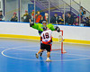 """Onondaga Redhawks Percy Shenandoah (19) scores against the Rochester Greywolves in Can-Am Senior """"B"""" Box Lacrosse at the Onondaga Nation Arena near Nedrow, New York on Saturday, April 28, 2012."""