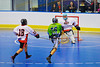 """Rochester Greywolves player takes a shot against Onondaga Redhawks goalie Spencer Lyons (1) in Can-Am Senior """"B"""" Box Lacrosse at the Onondaga Nation Arena near Nedrow, New York on Saturday, April 28, 2012."""
