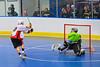 "Onondaga Redhawks James Cathers (22) deking the Rochester Greywolves goalie before scoring in Can-Am Senior ""B"" Box Lacrosse at the Onondaga Nation Arena near Nedrow, New York on Saturday, April 28, 2012."