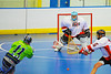 "Onondaga Redhawks goalie Spencer Lyons (1) in a game against the Rochester Greywolves in Can-Am Senior ""B"" Box Lacrosse at the Onondaga Nation Arena near Nedrow, New York on Saturday, April 28, 2012."