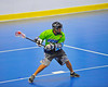 """Rochester Greywolves player winds up for a shot against the Onondaga Redhawks in Can-Am Senior """"B"""" Box Lacrosse at the Onondaga Nation Arena near Nedrow, New York on Saturday, April 28, 2012."""