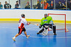"""Onondaga Redhawks Percy Shenandoah (19) on a breakaway against the Rochester Greywolves in Can-Am Senior """"B"""" Box Lacrosse at the Onondaga Nation Arena near Nedrow, New York on Saturday, April 28, 2012."""