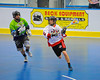 "Onondaga Redhawks Trevor Clark (2) looking to make a play against the Rochester Greywolves in Can-Am Senior ""B"" Box Lacrosse at the Onondaga Nation Arena near Nedrow, New York on Saturday, April 28, 2012."