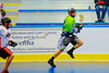 """Rochester Greywolves player carrying the ball against the Onondaga Redhawks in Can-Am Senior """"B"""" Box Lacrosse at the Onondaga Nation Arena near Nedrow, New York on Saturday, April 28, 2012."""