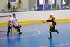 Tuscarora Tomahawk Dean Janzen (11) takes a shot against Onondaga Redhawks goalie Ross Bucktooth (30) at the Onondaga Nation Arena near Nedrow, New York on Saturday, June 23, 2012.