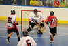 Buffalo Creek Thunder Cody Kuhnle (77) scores on the Onondaga Redhawks at the Onondaga Nation Arena near Nedrow, New York on Sunday, May 5, 2013. Redhawks won 15-10.