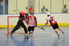 Onondaga Redhawks Lee Nanticoke (27) scores against the Buffalo Creek Thunder at the Onondaga Nation Arena near Nedrow, New York on Sunday, May 5, 2013. Redhawks won 15-10.