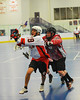 Onondaga Redhawks Derek Bennett (29) heads in for a goal against the Buffalo Creek Thunder at the Onondaga Nation Arena near Nedrow, New York on Sunday, May 5, 2013. Redhawks won 15-10.