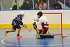 Onondaga Redhawks goalie Ross Bucktooth (1) stops Rochester Greywolves James Schatt (16) at the Onondaga Nation Arena near Nedrow, New York on Friday, April 26, 2013. Onondaga won 25-10.