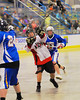 Onondaga Redhawks Wade Bucktooth (19) lets a shot go at the Allegany Arrows net at the Onondaga Nation Arena near Nedrow, New York on Saturday, May 3, 2014.  Onondaga won 21-5.
