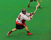 """Onondaga Redhawks Wade Bucktooth (19) shoots and scores a goal against the Newtown Golden Eagles in the Can-Am Senior """"B"""" Box Lacrosse finals at the Onondaga Nation Arena near Nedrow, New York on Saturday, August 2, 2014.  Onondaga won 11-5."""