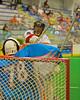 Onondaga Redhawks Lyle Thompson (44) fires in a goal past Six Nations Slash goalie Tasha Nanticoke (78) at the Onondaga Nation Arena near Nedrow, New York on Sunday, June 29, 2014.  Onondaga won 30-6.