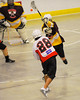 Onondaga Redhawks Lee Nanticoke (28) fires a shot at the Tuscaroa Tomahawks net at the Onondaga Nation Arena near Nedrow, New York on Saturday, April 26, 2014. Onondaga won 8-7 in overtime.