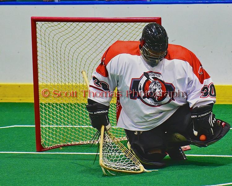 Onondaga Redhawks host the Allegany Arrows at the Onondaga Nation Arena near Nedrow, New York on Friday, July 24, 2015..  Onondaga won 13-6.
