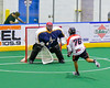 Onondaga Redhawks Lee Nanticoke (76) scores against the Allegany Arrows in Can-Am Box Lacrosse action at the Onondaga Nation Arena near Nedrow, New York on Saturday, May 14, 2016.  Onondaga won 17-5.