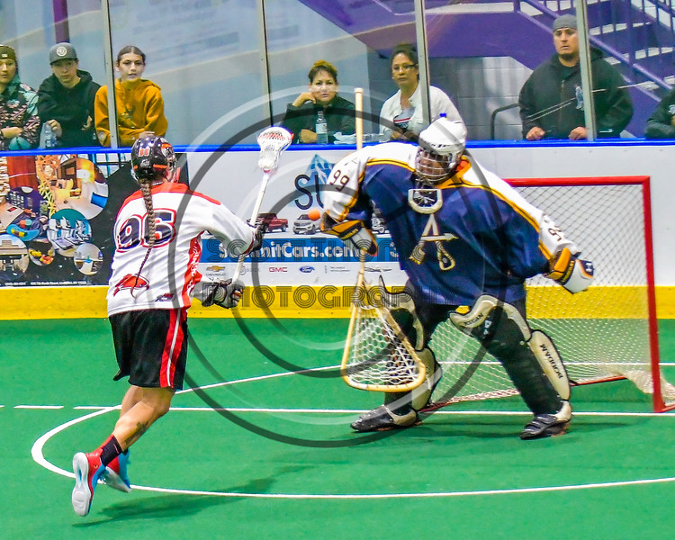 Onondaga Redhawks Bill O'Brien (96) shoots and scores against the Allegany Arrows in Can-Am Box Lacrosse action at the Onondaga Nation Arena near Nedrow, New York on Saturday, May 14, 2016.  Onondaga won 17-5.