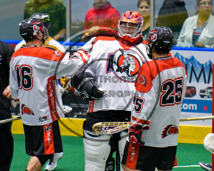 Onondaga Redhawks host the Allegany Arrows in Can-Am Box Lacrosse action at the Onondaga Nation Arena near Nedrow, New York on Saturday, May 14, 2016.  Onondaga won 17-5.