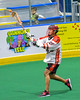 Onondaga Redhawks Brett Bucktooth (66) passing the ball against the Allegany Arrows in Can-Am Box Lacrosse action at the Onondaga Nation Arena near Nedrow, New York on Saturday, May 14, 2016.  Onondaga won 17-5.