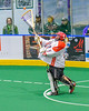 Onondaga Redhawks goalie Edmund Cathers (1) passing the ball against the Allegany Arrows in Can-Am Box Lacrosse action at the Onondaga Nation Arena near Nedrow, New York on Saturday, May 14, 2016.  Onondaga won 17-5.