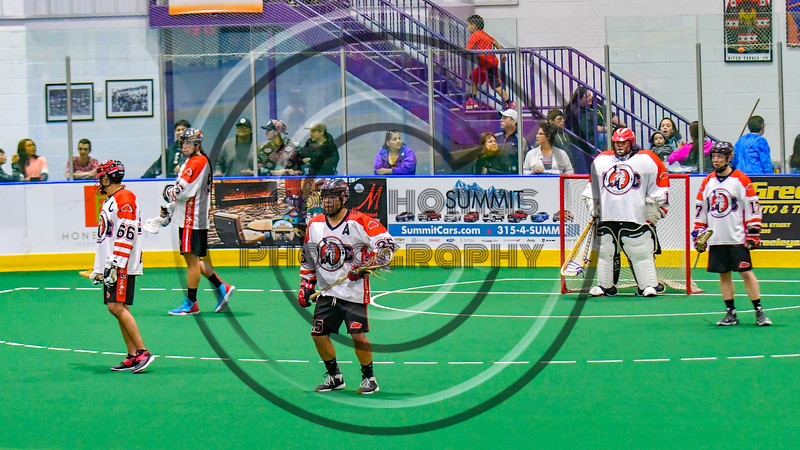 Onondaga Redhawks setting up for a penalty kill against the Allegany Arrows in Can-Am Box Lacrosse action at the Onondaga Nation Arena near Nedrow, New York on Saturday, May 14, 2016.  Onondaga won 17-5.