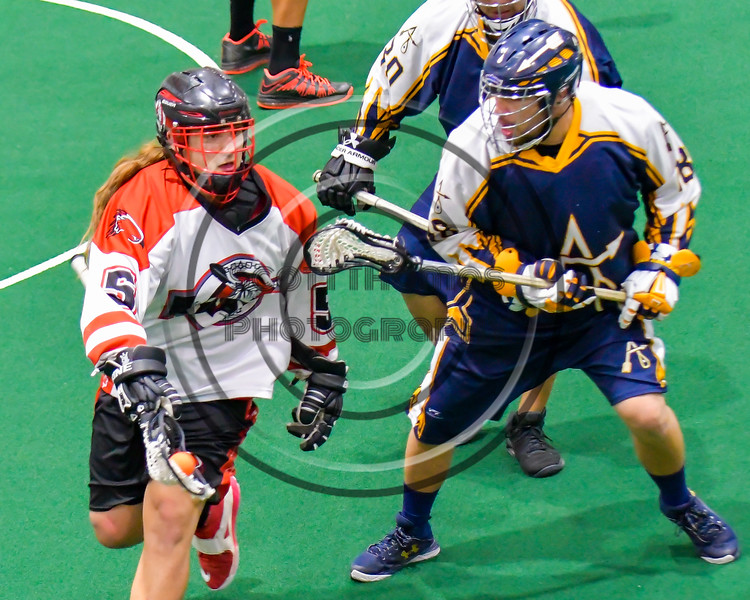 Onondaga Redhawks Cameron Simpson (5) flips the ball away from an Allegany Arrows defender in Can-Am Box Lacrosse action at the Onondaga Nation Arena near Nedrow, New York on Saturday, May 14, 2016.  Onondaga won 17-5.