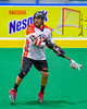 Onondaga Redhawks AJ Bucktooth (18) with the ball against the Allegany Arrows in Can-Am Box Lacrosse action at the Onondaga Nation Arena near Nedrow, New York on Saturday, May 14, 2016.  Onondaga won 17-5.